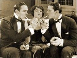 "William Haines (left), Eleanor Boardman and Ben Lyon in ""Wine of Youth"""